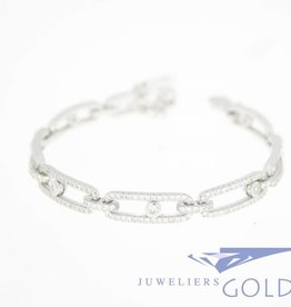 silver bracelet with multiple zirconia's