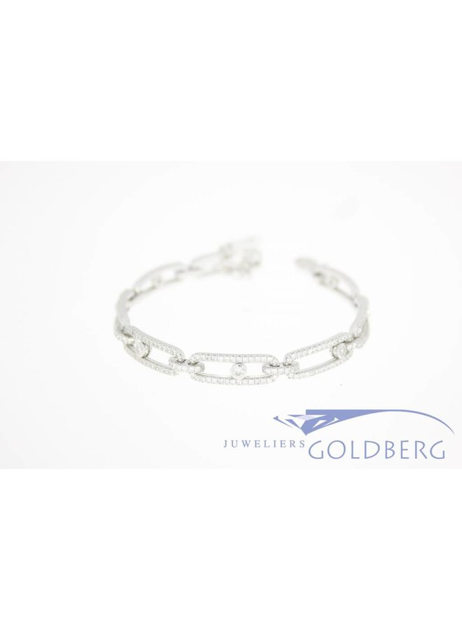 silver bracelet with multiple zirconia's