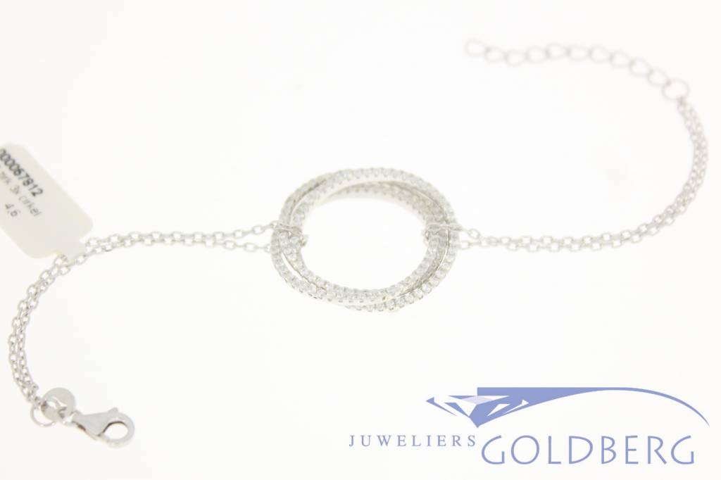 Silver bracelet tripple circle with zirconia