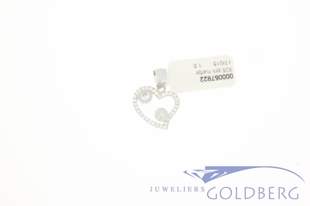 Zilveren hart hanger met zirconia
