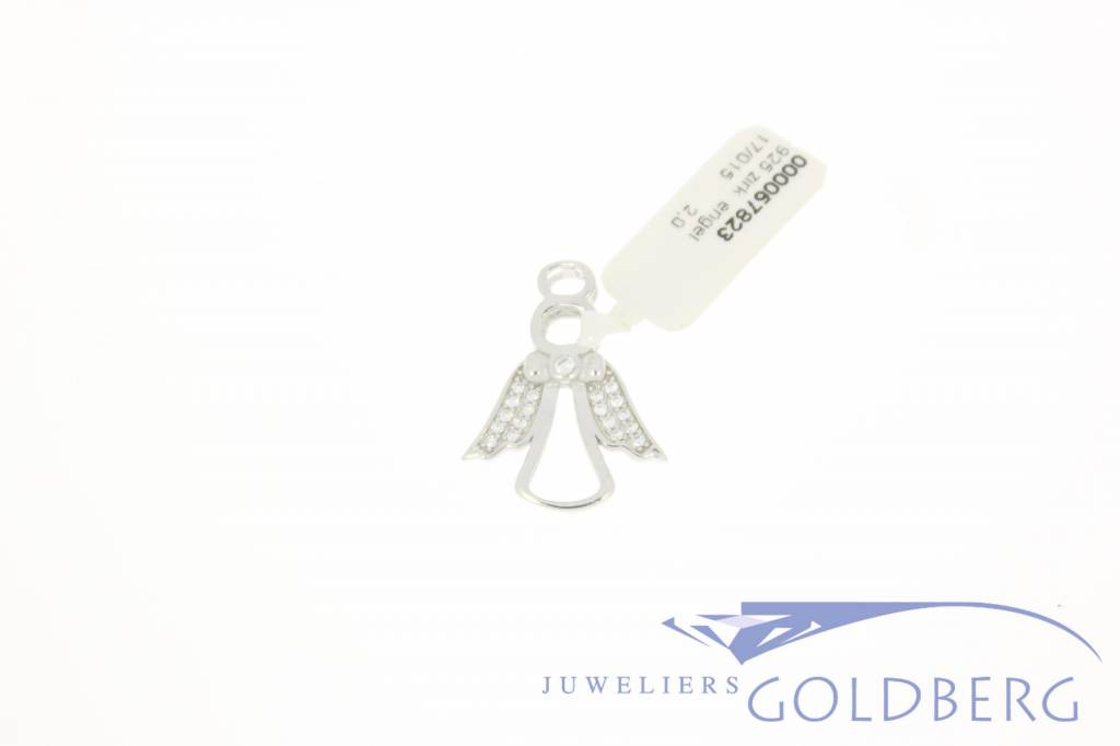 Silver angel pendant with zirconia's