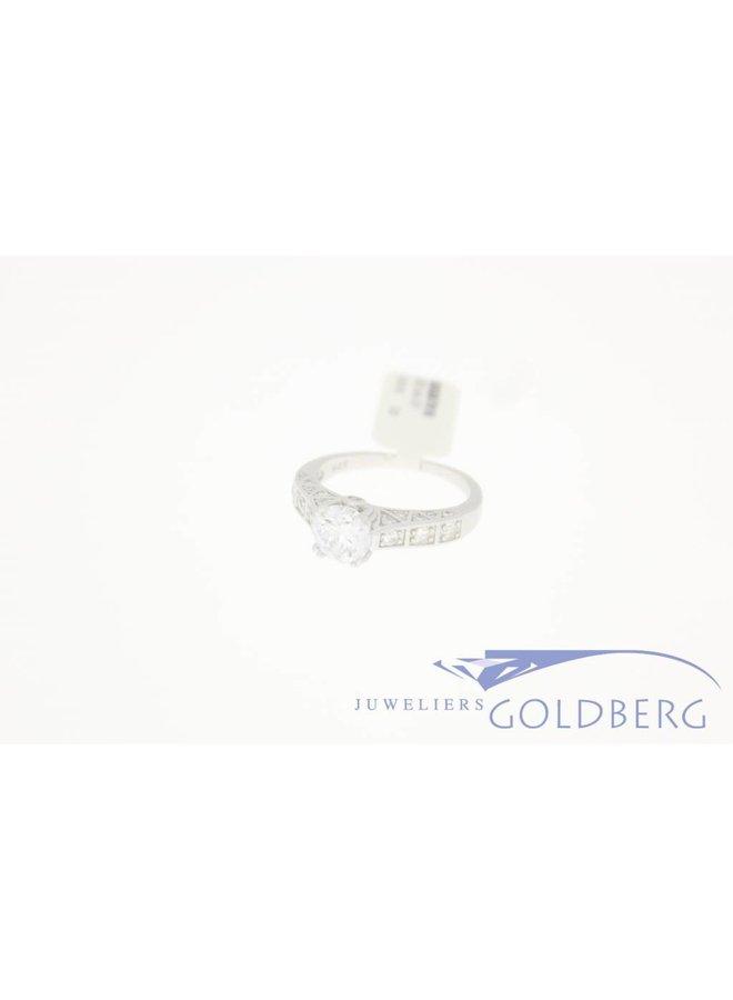 Zilveren solitair ring extra