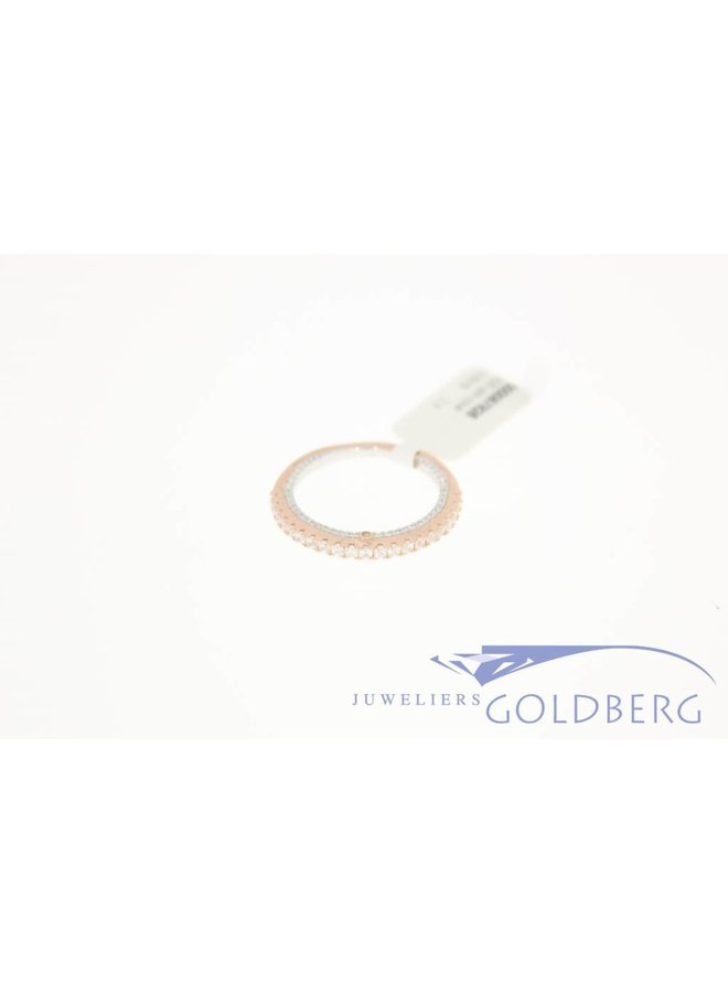 Silver rose gold-plated side ring with zirconia's