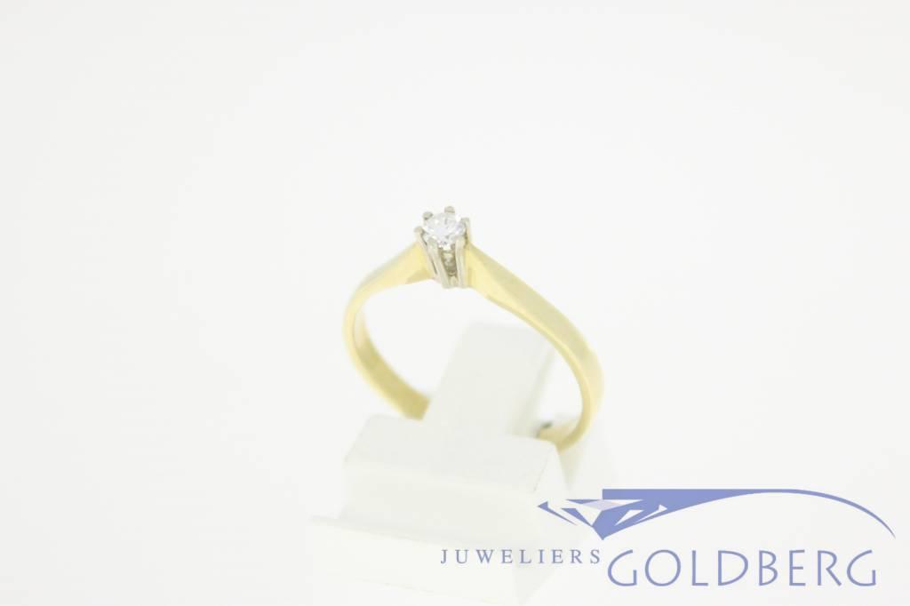 14k gouden solitair ring 0.10ct briljant