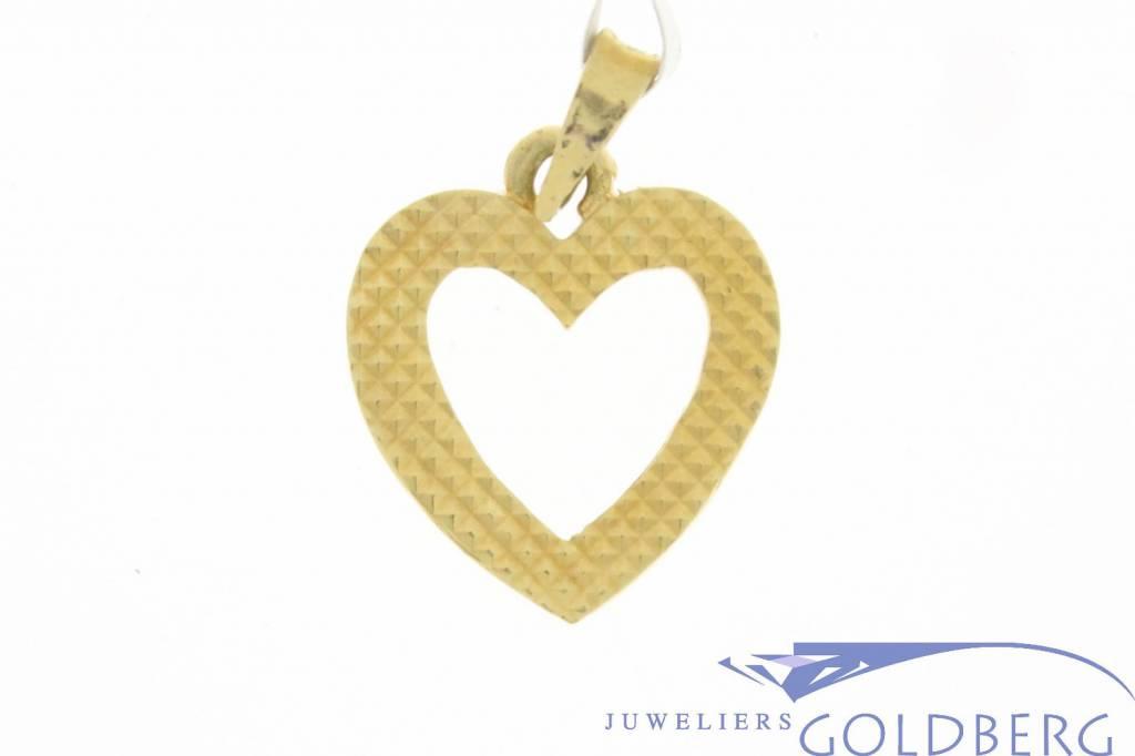 Vintage 18k gouden open bewerkte hartvormige hanger