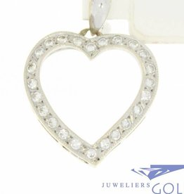Vintage 18 carat white gold open heart-shaped pendant with ca. 0.42ct brilliant cut diamond