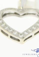 Vintage 18k witgouden hartvormige open hanger met ca. 0.42ct briljant