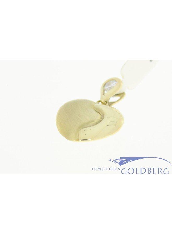 Vintage 14k gouden bewerkte hartvormige hanger met zirconia