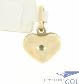 Vintage 14k gouden bolle hartvormige hanger