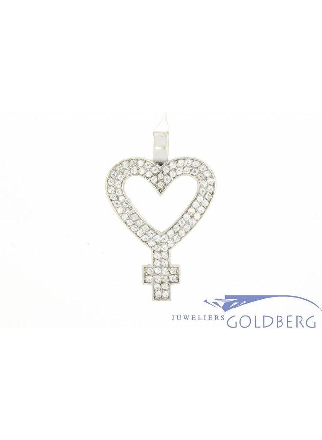 Vintage 14k witgouden hartvormige vrouwensymbool hanger met zirconia