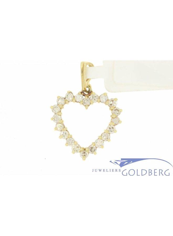 Vintage 14k gouden open hartvormige hanger met ca. 0.75ct briljant geslepen diamant