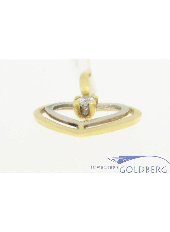 Vintage 18k bicolor gouden hartvormige open hanger met ca. 0.10ct briljant