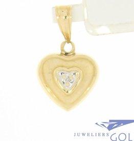 Vintage 14k gouden hanger hart met ca. 0.005ct diamant