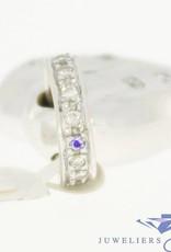 Vintage 14k witgouden hart hanger met ca. 0.45pts briljant geslepen diamant