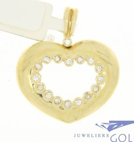 Zware vintage 14k gouden open hartvormige hanger met zirconia