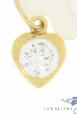Klein vintage 14k gouden hart hangertje met zirconia