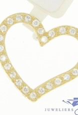 Vintage 14 carat gold heart-shaped pendant with zirconia