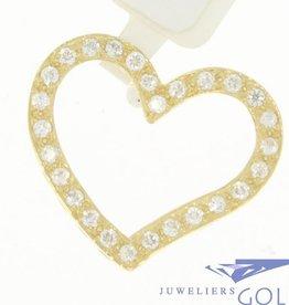 Vintage 14k gouden open hartvormige hanger met zirconia