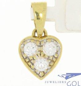 Vintage 18k gouden hartvormige hanger met zirconia