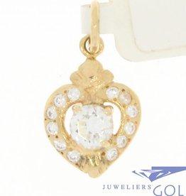 Lieflijke vintage 14k gouden hartje hanger met zirconia