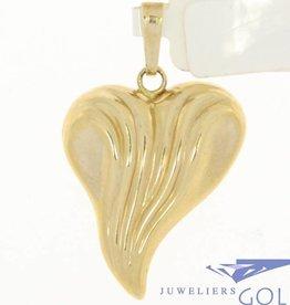 Vintage 14k gouden bewerkte hartvormige hanger
