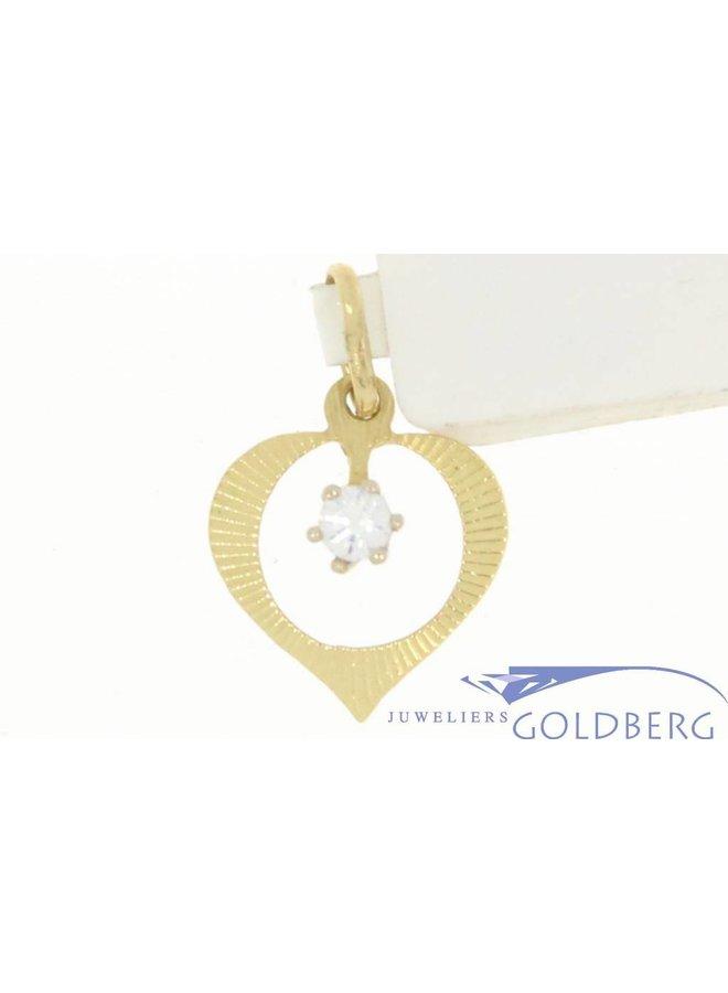 Vintage fijn 14k gouden open hartje hanger met zirconia