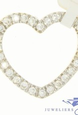 Vintage 14 carat gold big heart-shaped pendant with zirconia