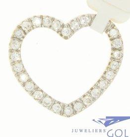 Vintage 14 carat gold big heart-shaped pendant with zirconia