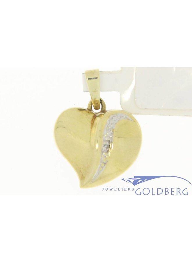 Vintage 14k gouden harten hanger met rij diamanten