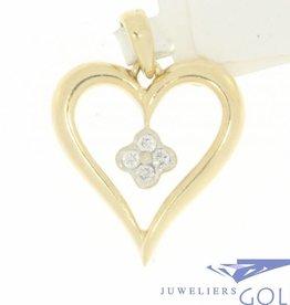 Vintage 14k gouden open hartvormige hanger met ca. 0.07ct briljant