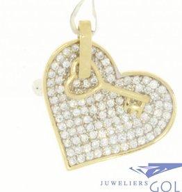 Vintage 14k gouden hanger met zirconia hart en sleuteltje