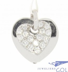 Vintage 18 carat white gold 2 hearts pendant embedded with zirconia