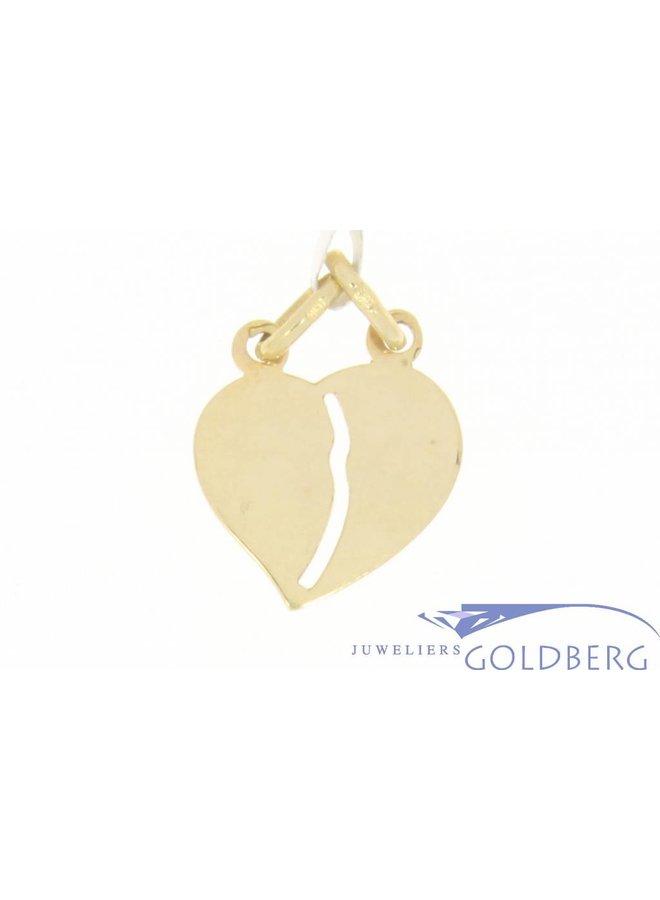 Vintage 14k gouden breekhartje hanger