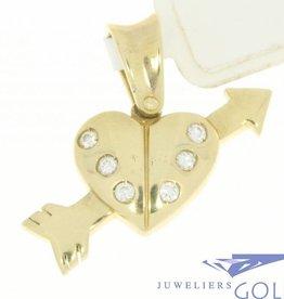 Vintage 14k gouden hart met pijl hanger ingezet met zirconia