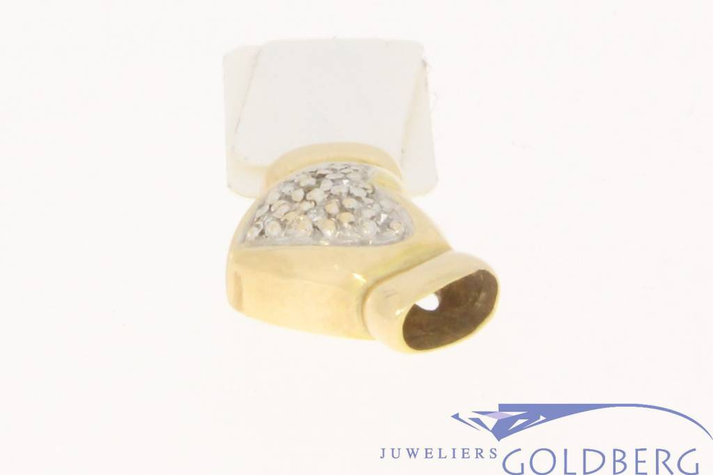 Vintage 14k gouden rijgbare harten hanger met ca. 0.054ct diamant