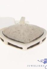 Vintage 14k witgouden bewerkte hanger hart met een sterretje en diamant
