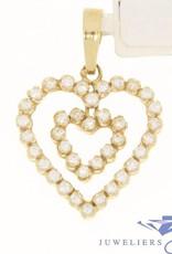 Vintage 18k gouden hanger met 2 harten ingelegd met talrijke zirconia's
