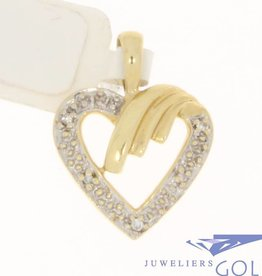Vintage 14 carat gold edited open heart-shaped pendant with approx. 0.025ct diamond