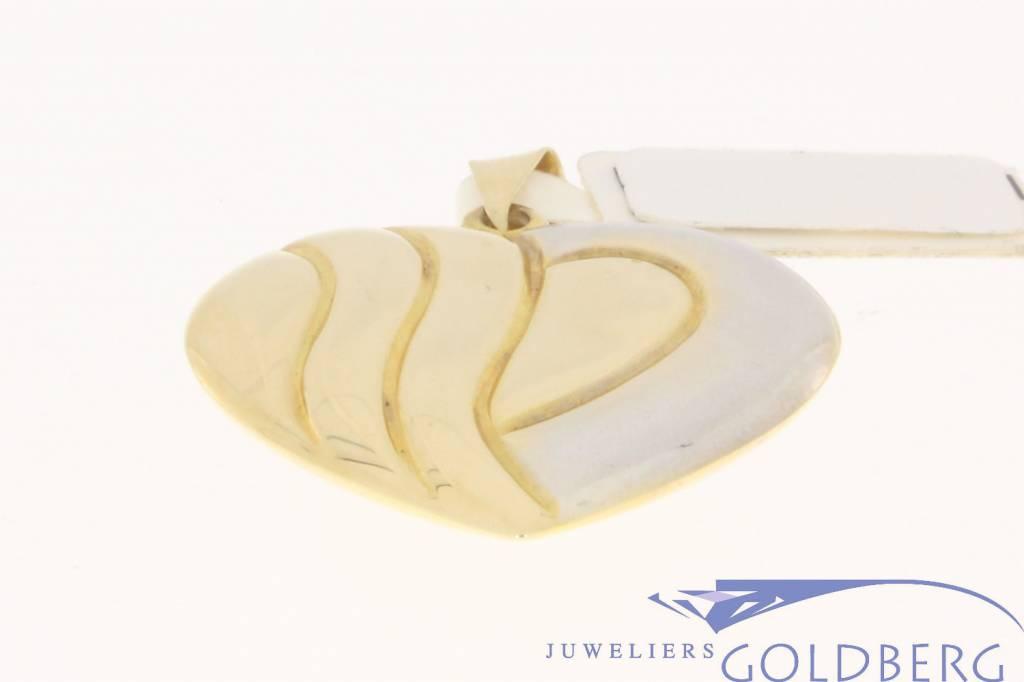 Groot vintage 14k bicolor gouden hartvormige hanger