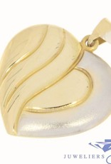 Large vintage 14 carat bicolor gold heart-shaped pendant