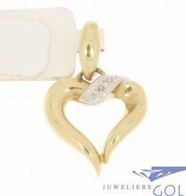 Vintage 14k bicolor gouden hartvormige hanger met diamant