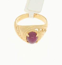 Robuuste 14k gouden vintage ring met robijn