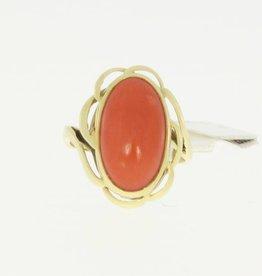 Vintage 14k gouden ring met grote bloedkoraal in bloemornament