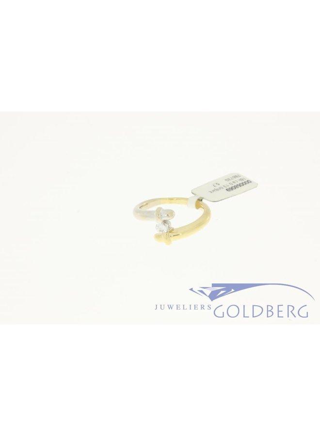18k bicolor vintage ring met ca. 0.13c briljant