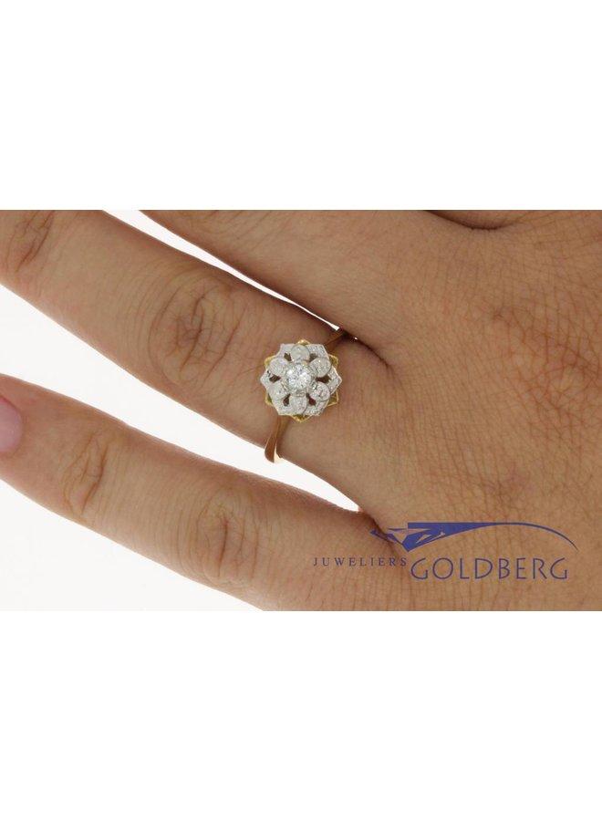 Vintage 18k rozet ring met zirconia