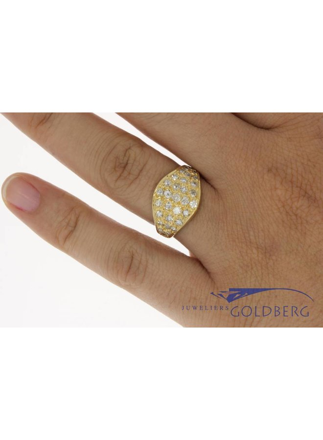 Vintage 18k gouden ring met ca. 0.90c diamant piqué