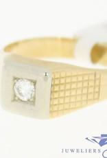 Vintage 14k gouden herenring met 0.16ct briljant