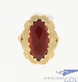 Vintage 14k gouden ring met een grote carneool