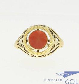 Vintage 14k gouden ring met ronde carneool