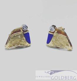 Vintage 18k gouden oorstekers met ca. 0.03ct diamant en lapis lazuli